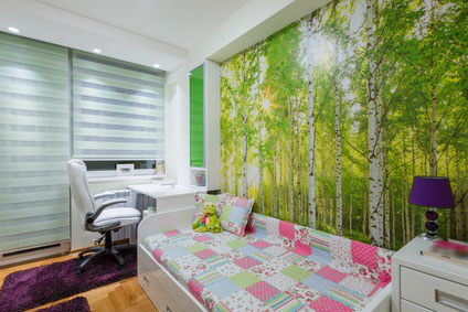 Children's room with wallpaper mural photo