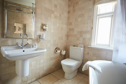 Interior Of Contemporary Bathroom With Tiled Walls